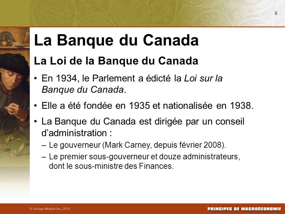 La Banque du Canada La Loi de la Banque du Canada