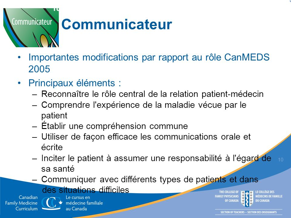 Communicateur Importantes modifications par rapport au rôle CanMEDS 2005. Principaux éléments :