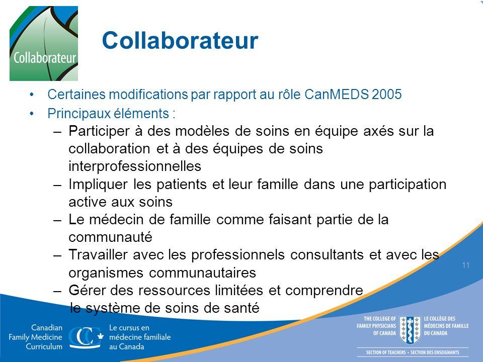 Collaborateur Certaines modifications par rapport au rôle CanMEDS 2005. Principaux éléments :