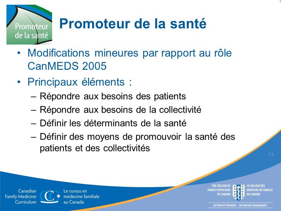 Promoteur de la santé Modifications mineures par rapport au rôle CanMEDS 2005. Principaux éléments :