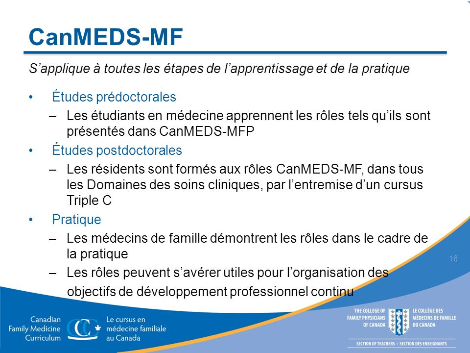 CanMEDS-MF S'applique à toutes les étapes de l'apprentissage et de la pratique. Études prédoctorales.