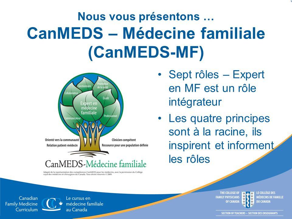 Nous vous présentons … CanMEDS – Médecine familiale (CanMEDS-MF)