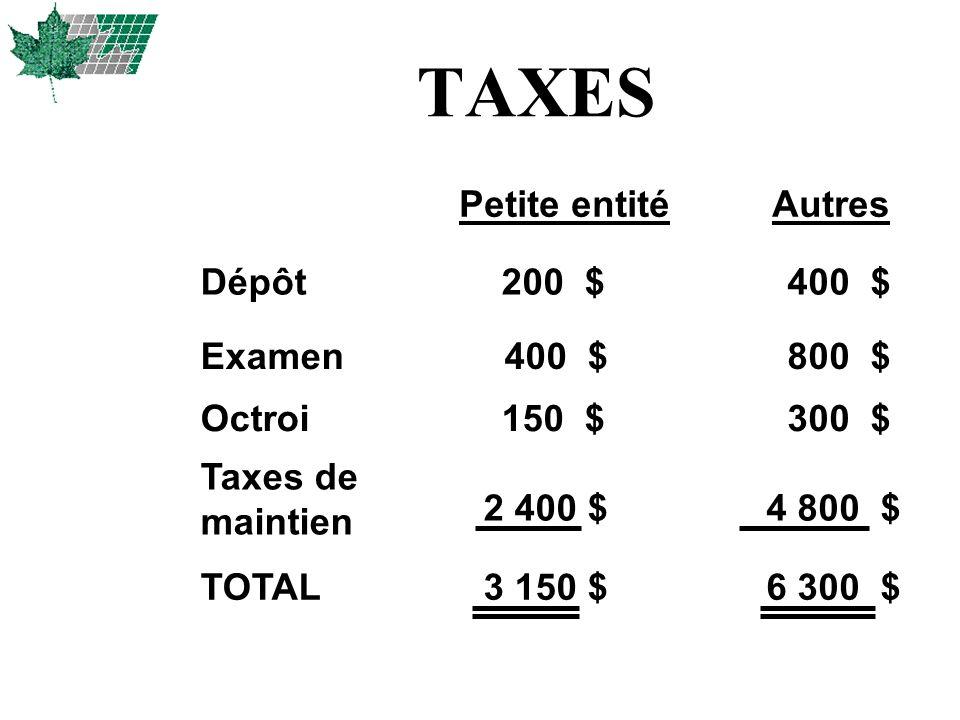 TAXES Petite entité Autres Dépôt 400 $ Examen 400 $ 800 $ Octroi 300 $