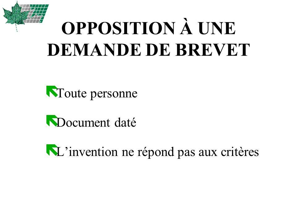 OPPOSITION À UNE DEMANDE DE BREVET