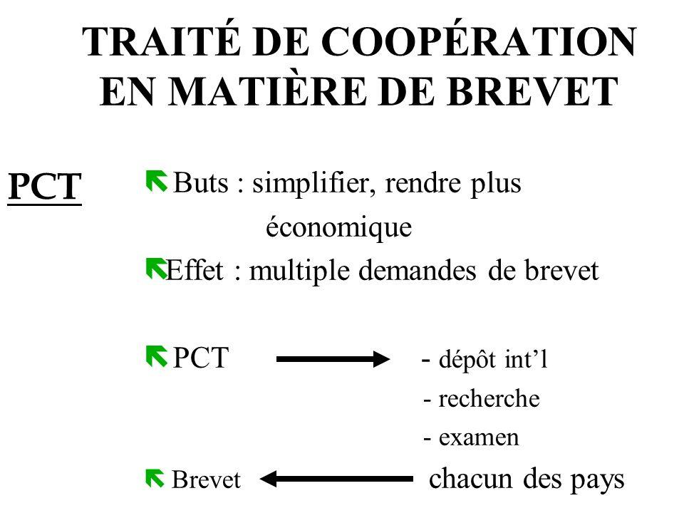 TRAITÉ DE COOPÉRATION EN MATIÈRE DE BREVET