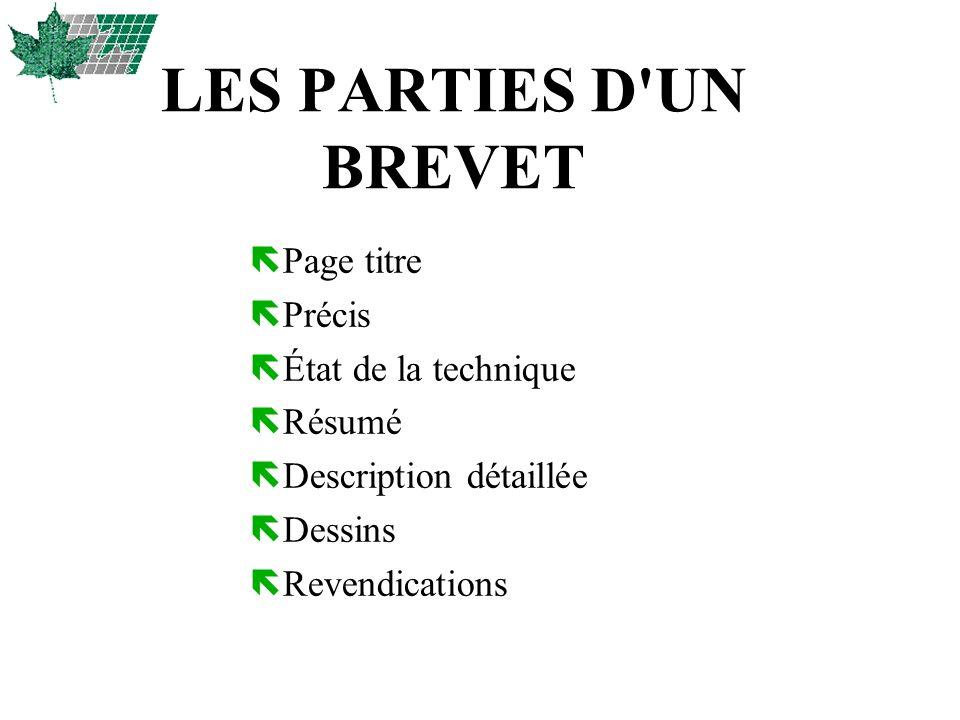 LES PARTIES D UN BREVET Page titre Précis État de la technique Résumé