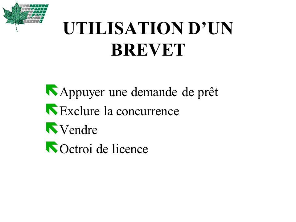 UTILISATION D'UN BREVET