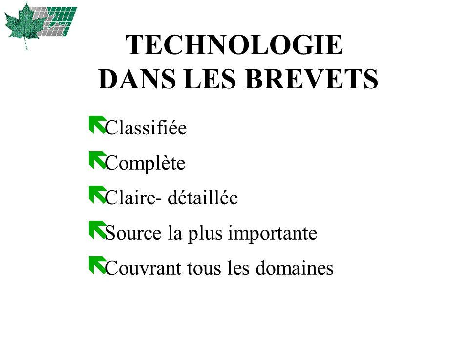 TECHNOLOGIE DANS LES BREVETS