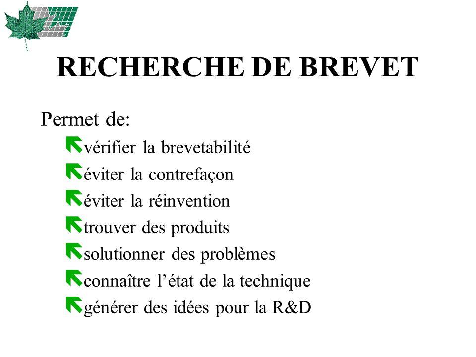RECHERCHE DE BREVET Permet de: vérifier la brevetabilité