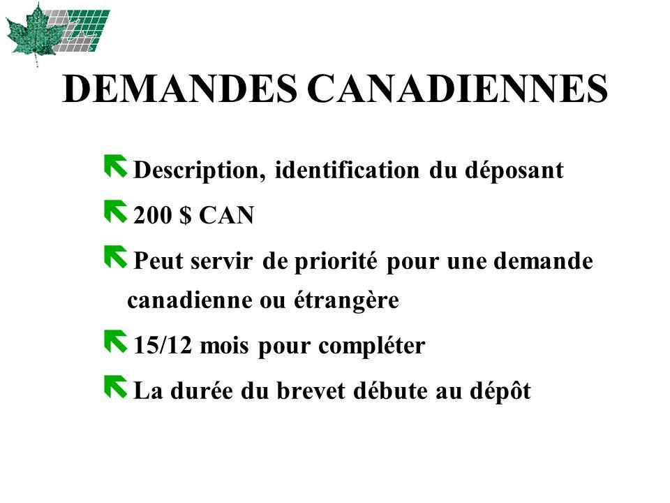 DEMANDES CANADIENNES Description, identification du déposant 200 $ CAN