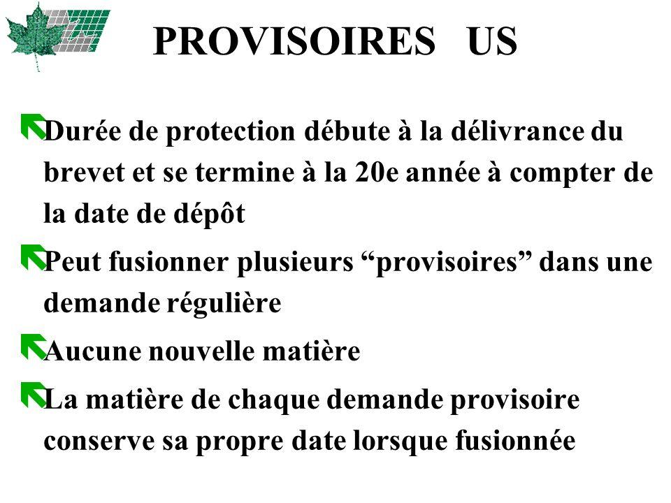 PROVISOIRES US Durée de protection débute à la délivrance du brevet et se termine à la 20e année à compter de la date de dépôt.