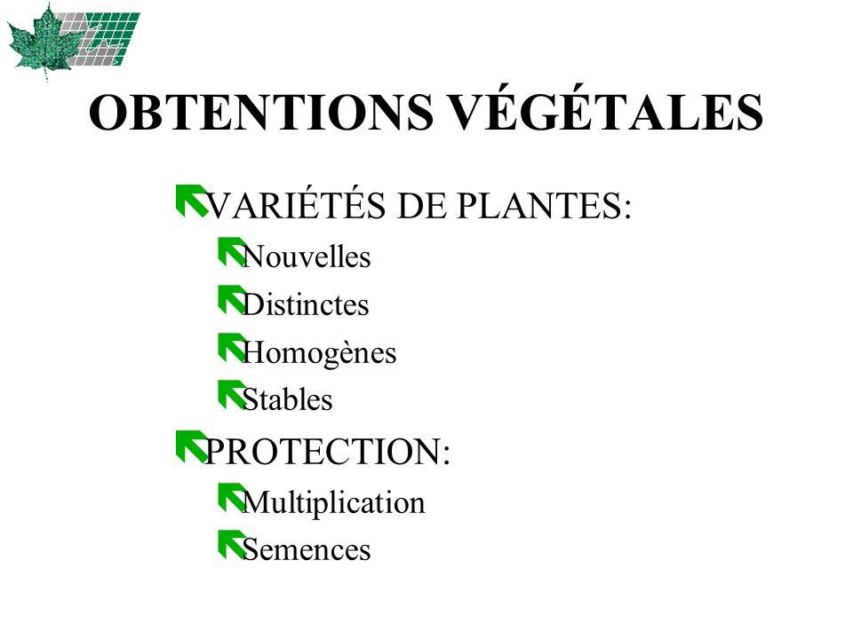 OBTENTIONS VÉGÉTALES VARIÉTÉS DE PLANTES: PROTECTION: Nouvelles