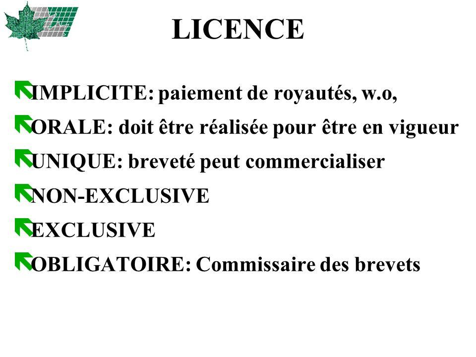 LICENCE IMPLICITE: paiement de royautés, w.o,