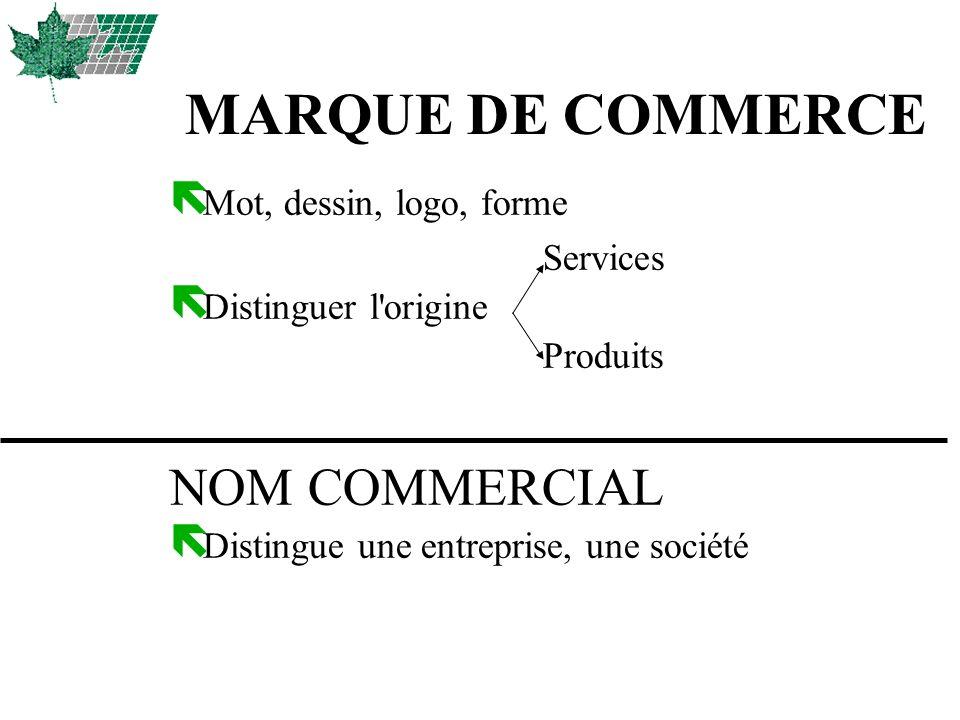 MARQUE DE COMMERCE NOM COMMERCIAL Mot, dessin, logo, forme Services