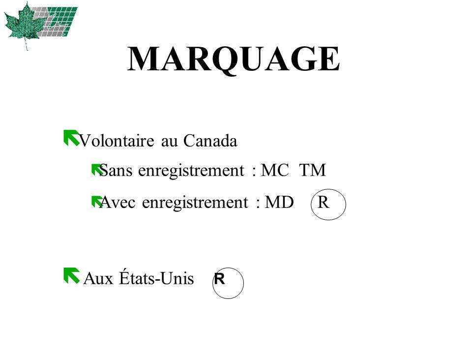 MARQUAGE Volontaire au Canada Sans enregistrement : MC TM
