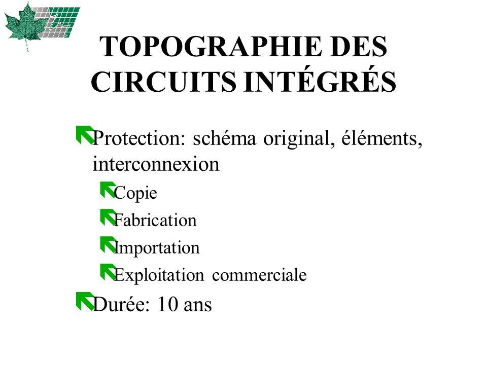 TOPOGRAPHIE DES CIRCUITS INTÉGRÉS