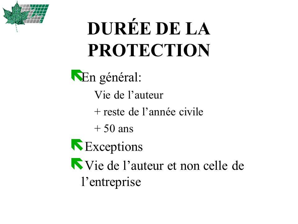 DURÉE DE LA PROTECTION En général: Exceptions