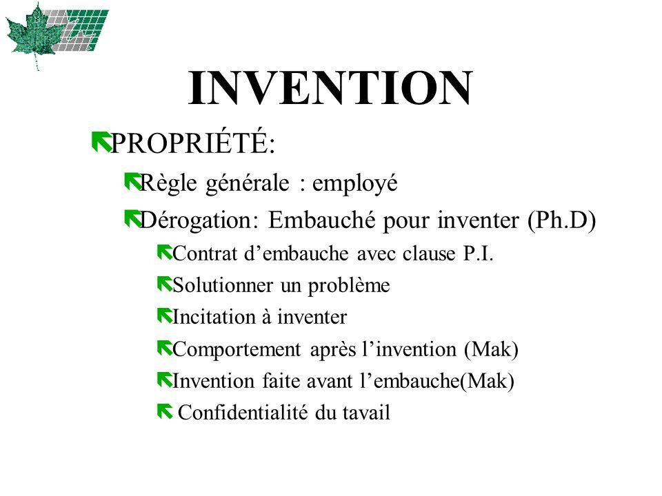 INVENTION PROPRIÉTÉ: Règle générale : employé