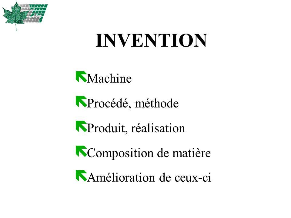 INVENTION Machine Procédé, méthode Produit, réalisation