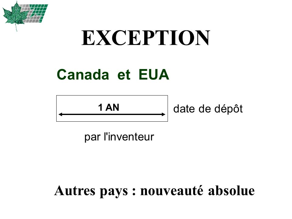 EXCEPTION Canada et EUA Autres pays : nouveauté absolue date de dépôt