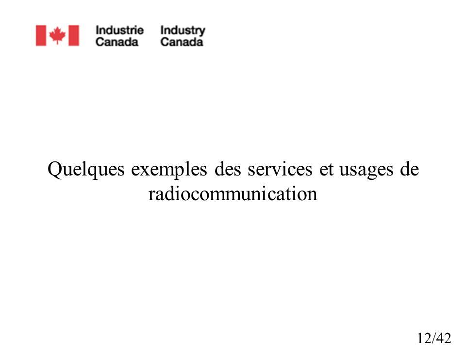 Quelques exemples des services et usages de radiocommunication