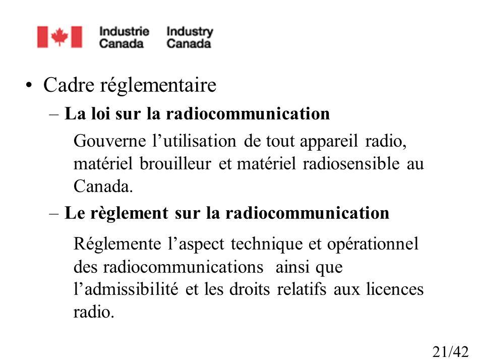 Cadre réglementaire La loi sur la radiocommunication.