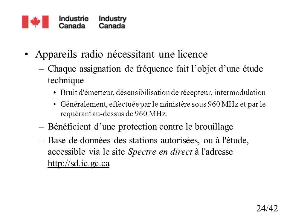Appareils radio nécessitant une licence