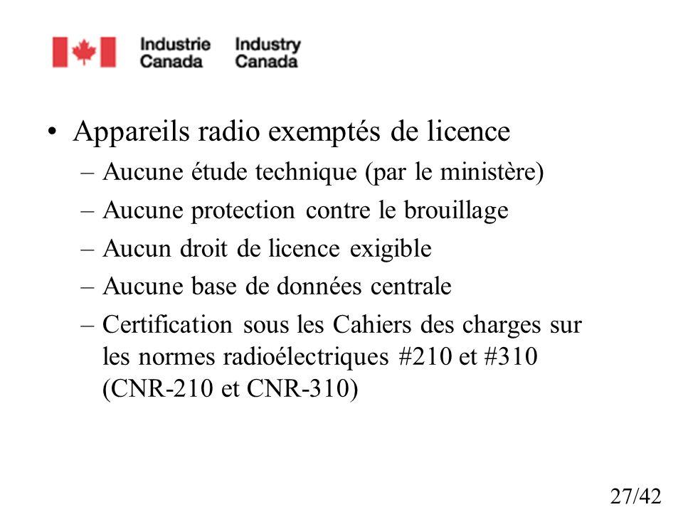 Appareils radio exemptés de licence