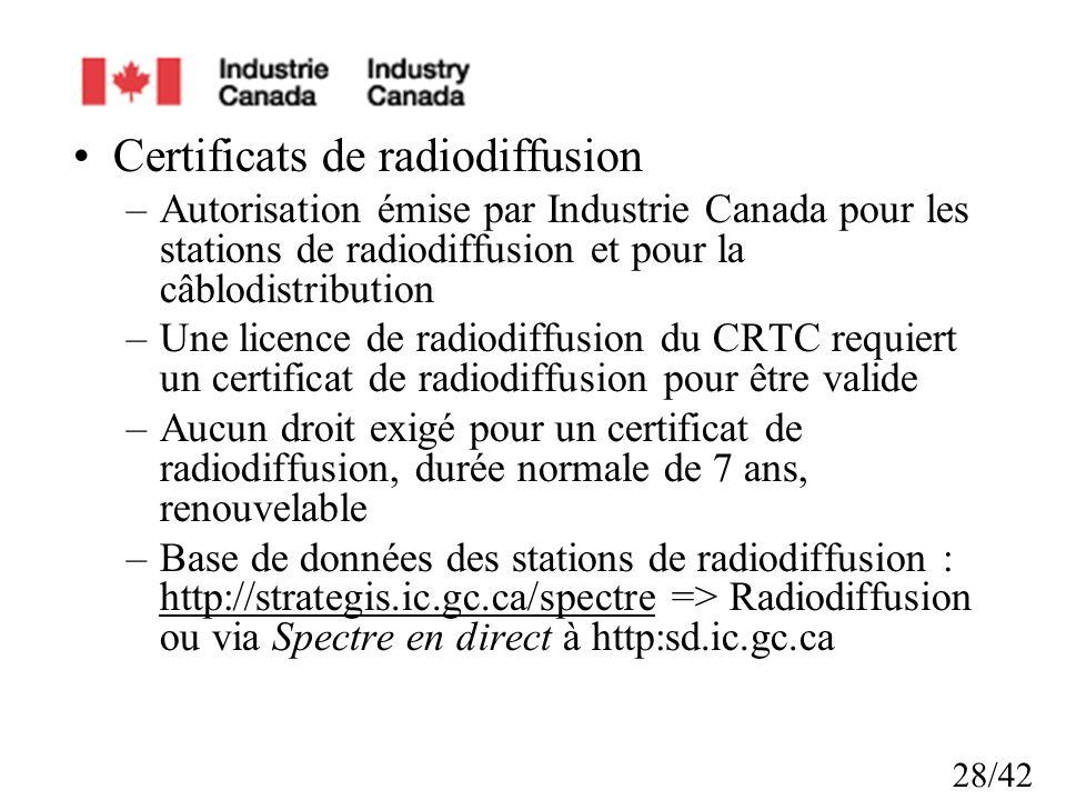 Certificats de radiodiffusion