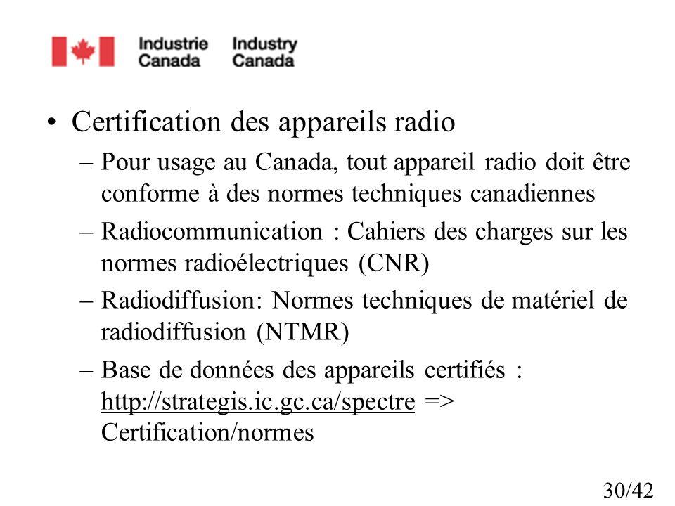Certification des appareils radio