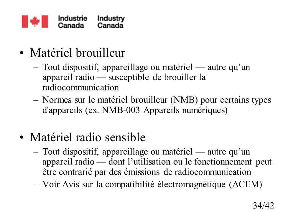 Matériel radio sensible