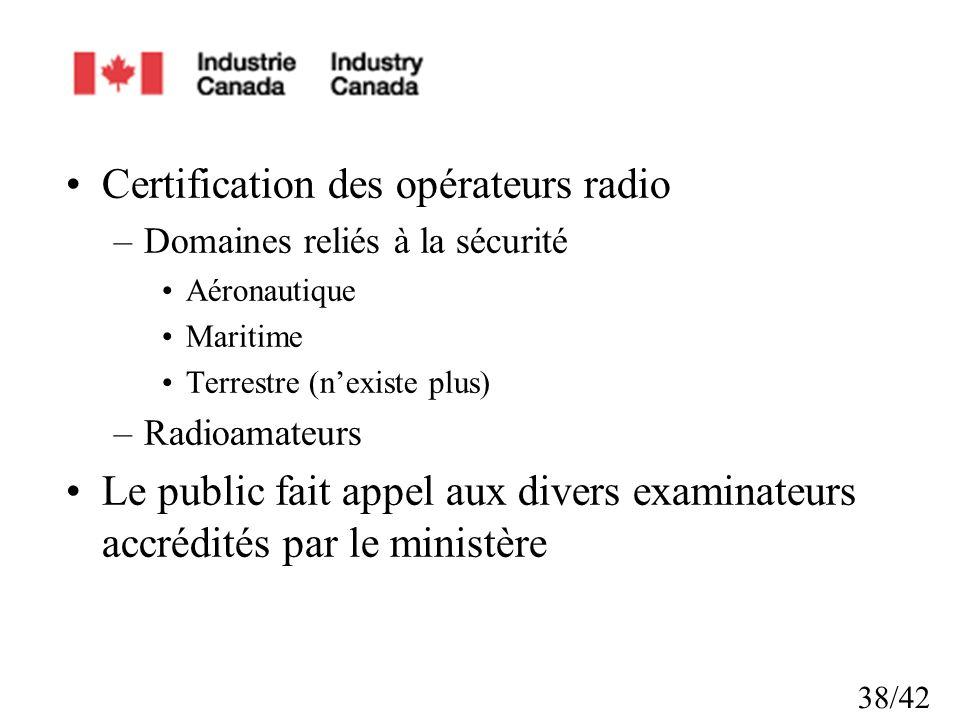 Certification des opérateurs radio