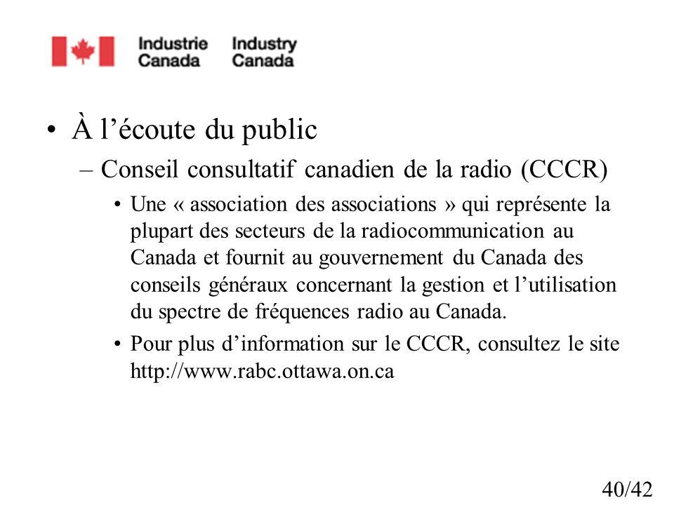 À l'écoute du public Conseil consultatif canadien de la radio (CCCR)