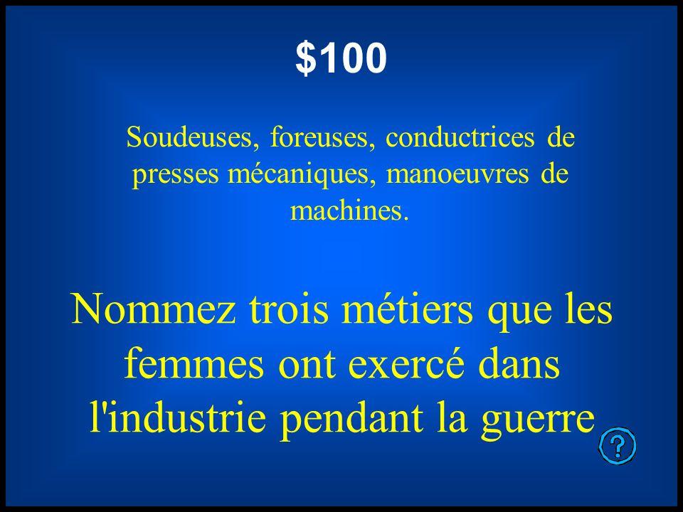 $100 Soudeuses, foreuses, conductrices de presses mécaniques, manoeuvres de machines.