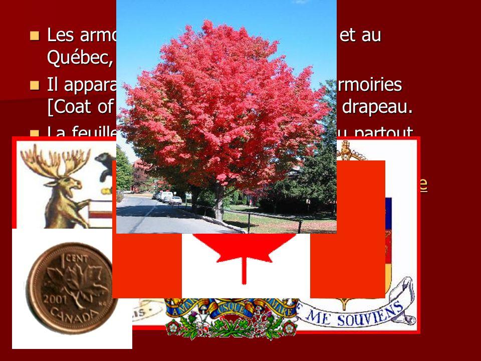 Les armoiries créées pour l Ontario et au Québec, des feuilles d érable.