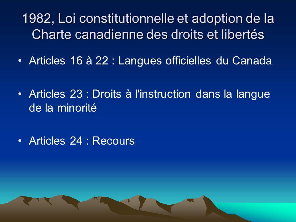1982, Loi constitutionnelle et adoption de la Charte canadienne des droits et libertés