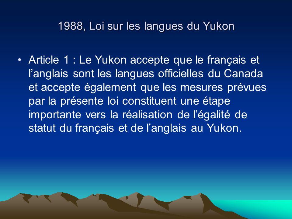 1988, Loi sur les langues du Yukon