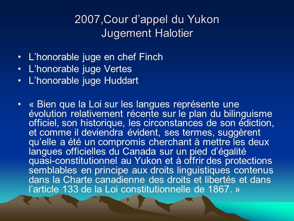 2007,Cour d'appel du Yukon Jugement Halotier