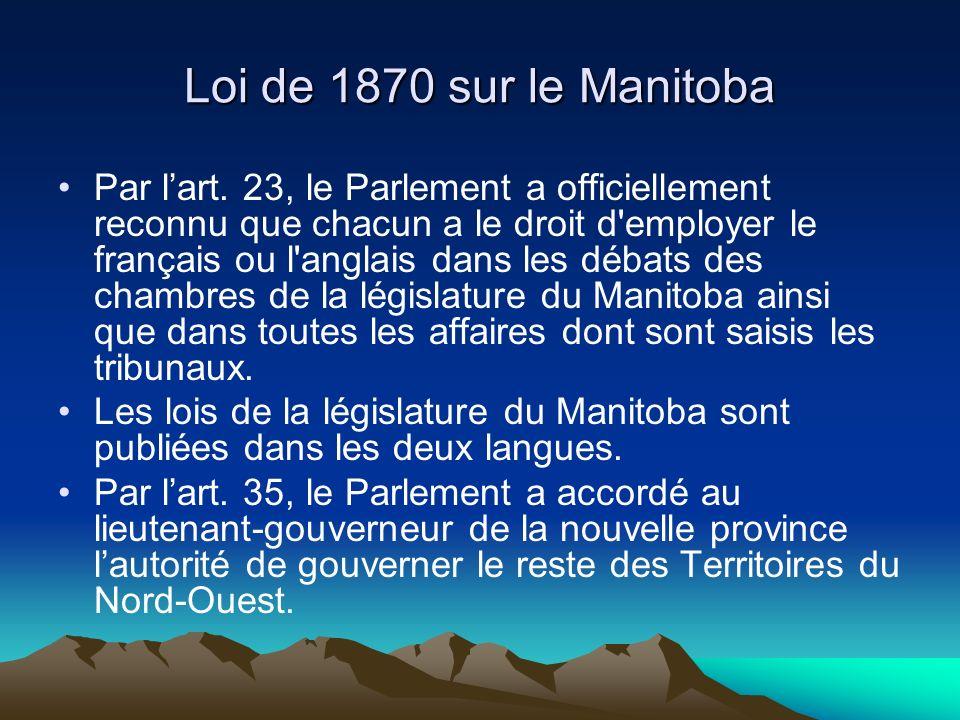 Loi de 1870 sur le Manitoba