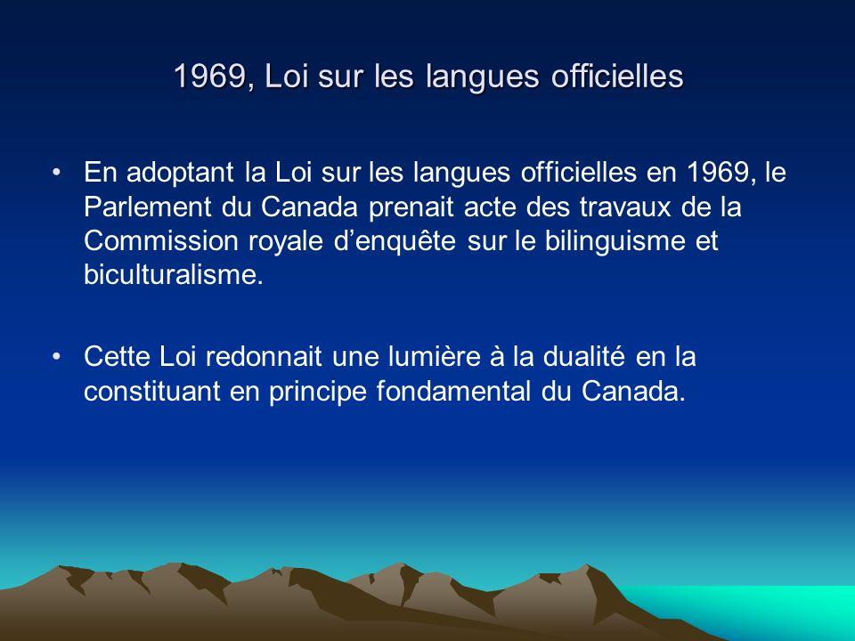 1969, Loi sur les langues officielles