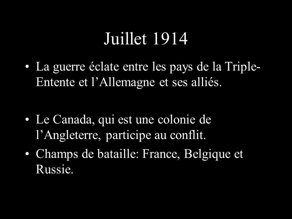 Juillet 1914 La guerre éclate entre les pays de la Triple-Entente et l'Allemagne et ses alliés.