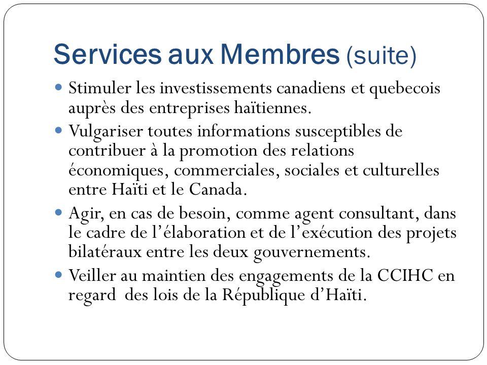 Services aux Membres (suite)