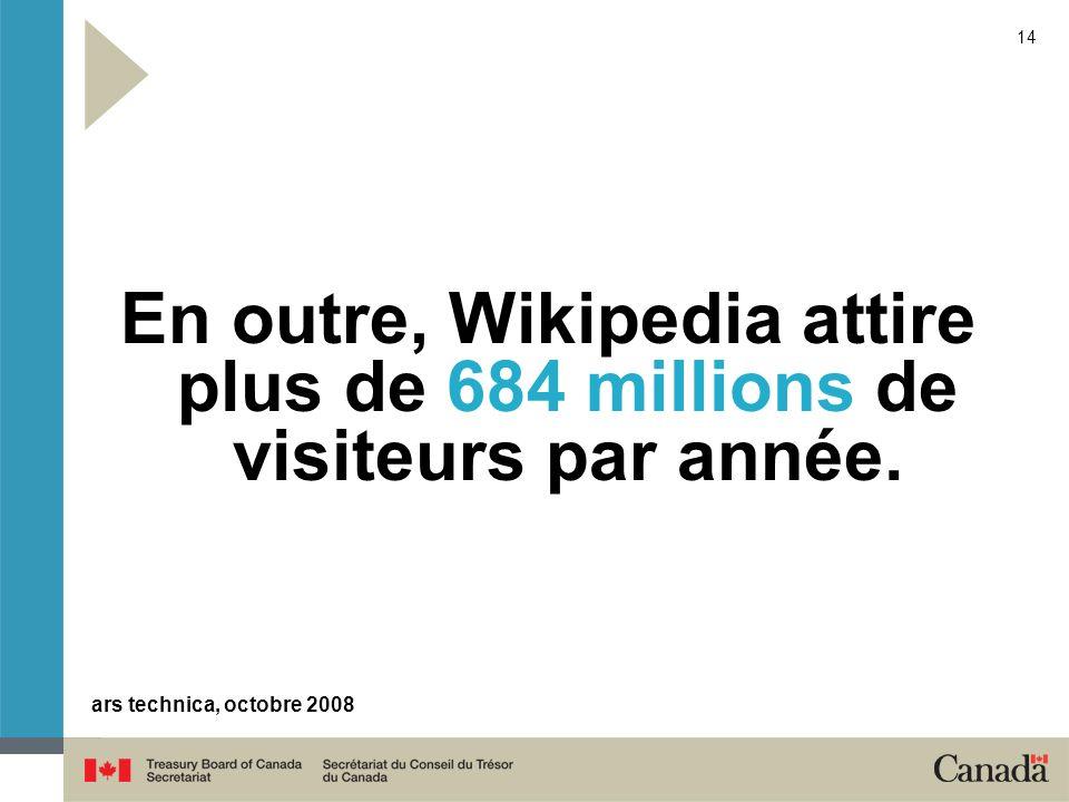 En outre, Wikipedia attire plus de 684 millions de visiteurs par année.