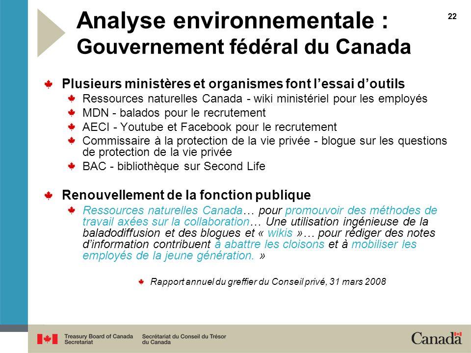 Analyse environnementale : Gouvernement fédéral du Canada