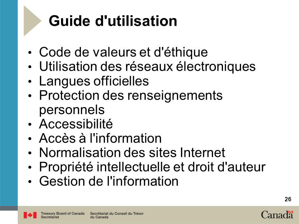 Guide d utilisation Code de valeurs et d éthique