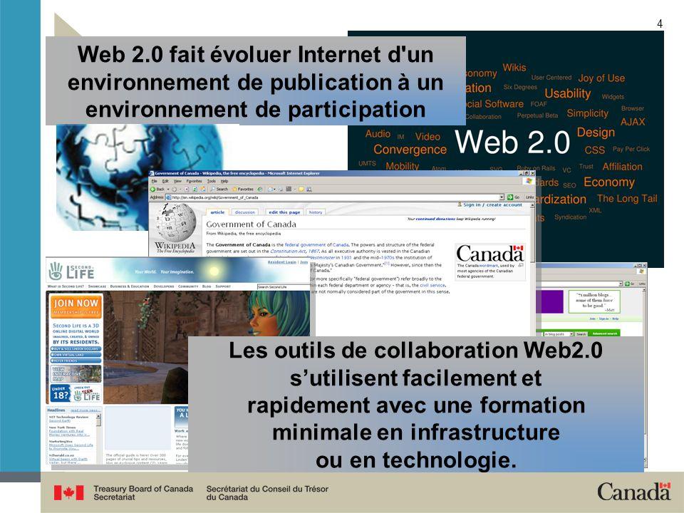 Web 2.0 fait évoluer Internet d un environnement de publication à un environnement de participation