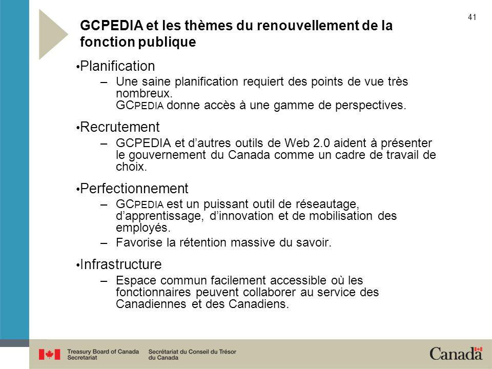 GCPEDIA et les thèmes du renouvellement de la fonction publique