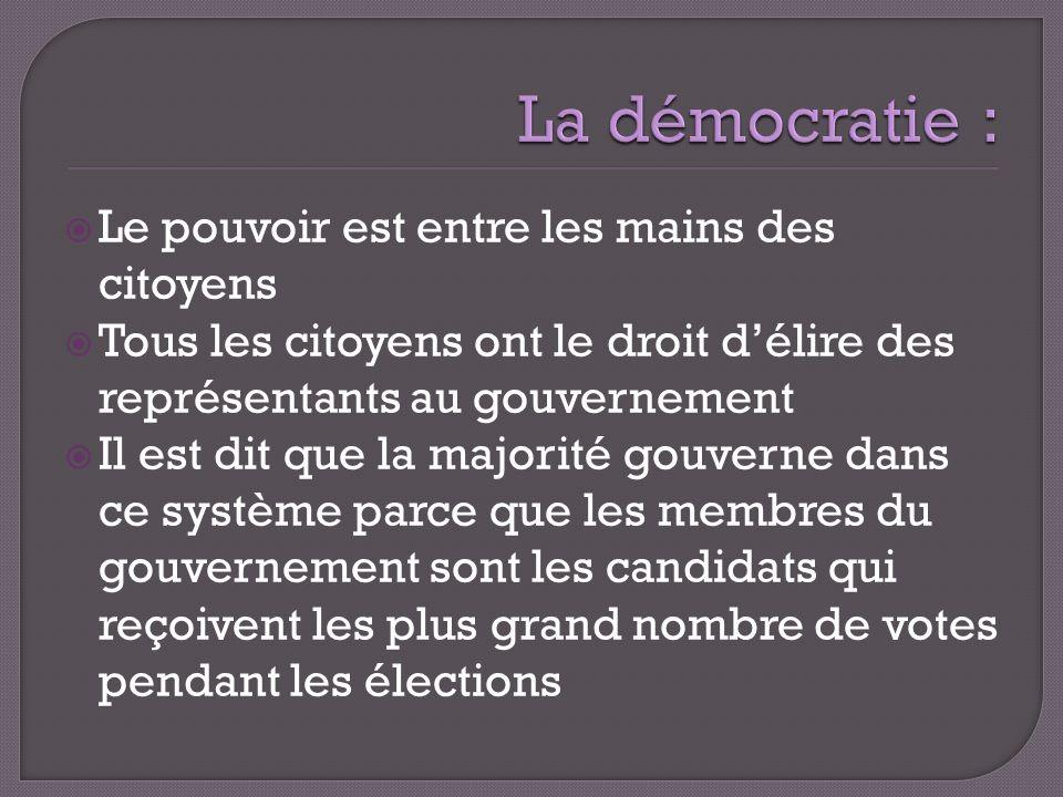 La démocratie : Le pouvoir est entre les mains des citoyens