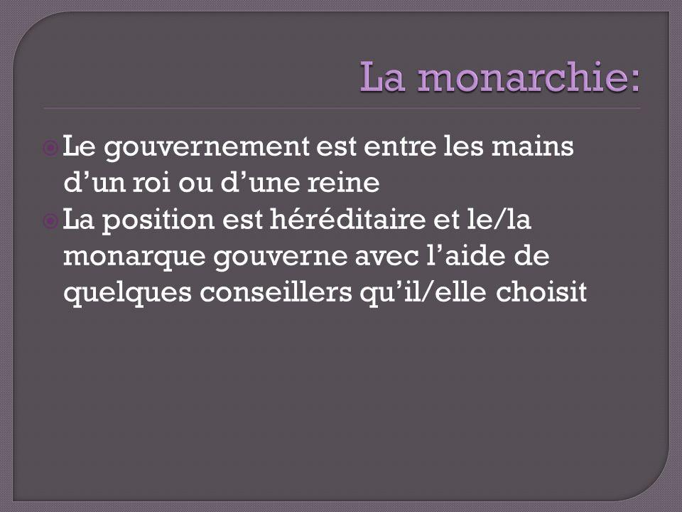 La monarchie: Le gouvernement est entre les mains d'un roi ou d'une reine.