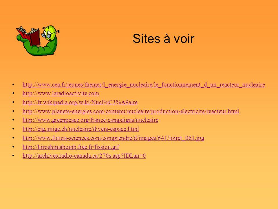 Sites à voir http://www.cea.fr/jeunes/themes/l_energie_nucleaire/le_fonctionnement_d_un_reacteur_nucleaire.
